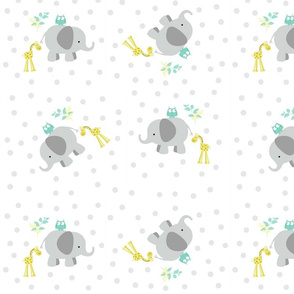 elephant giraffe gray polka dot around