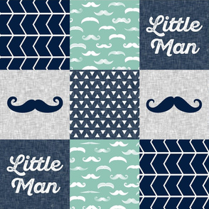 Mustache Little man wholecloth - navy and aqua stone