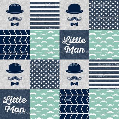 Little man dapper trio wholecloth - navy and aqua stone