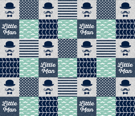 Little man dapper trio wholecloth - navy and aqua stone fabric by littlearrowdesign on Spoonflower - custom fabric