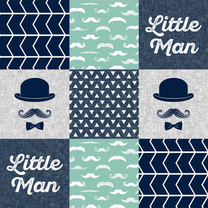 Little man dapper trio wholecloth - navy and aqua stone