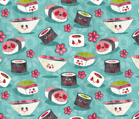we love sushi  fabric by cjldesigns on Spoonflower - custom fabric