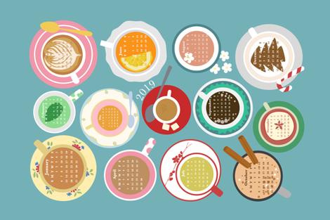 Cups! 2019 Calendar Tea Towel  fabric by sarahparr on Spoonflower - custom fabric