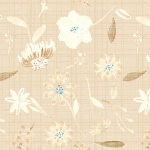 Cream Linen Floral || Teal Flower