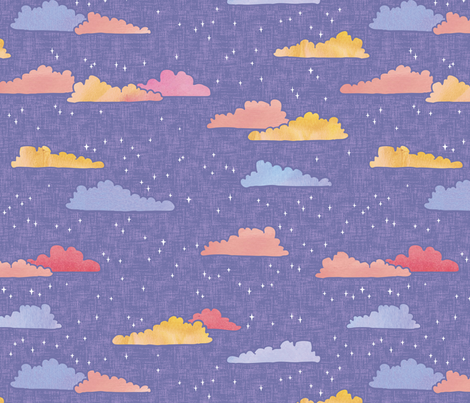 A Wish on Clouds and Stars - Lilac - Large Scale fabric by ceciliamok on Spoonflower - custom fabric