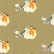 Baby Bird Robin Fall Linen Watercolor || Orange Tan Gray Cream Tobacco _ Miss Chiff Designs