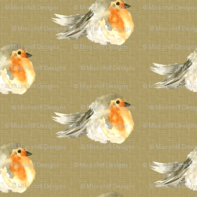 Baby Bird Robin Fall Autumn Linen Watercolor || Orange Tan Gray grey Cream Tobacco _ Miss Chiff Designs