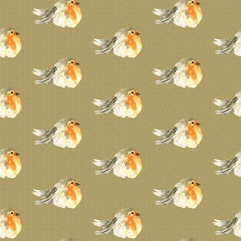 Baby Bird Robin Fall Autumn Linen Watercolor || Orange Tan Gray grey Cream Tobacco _ Miss Chiff Designs fabric by misschiffdesigns on Spoonflower - custom fabric