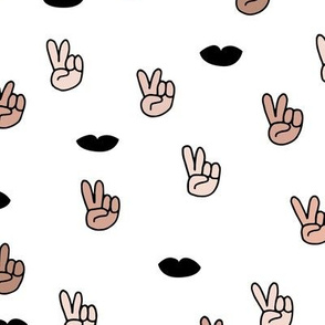 Peace and unity design with respect hand sign and lips