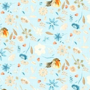 Baby Blue Bird Robin Floral Watercolor || Flower Orange Taupe Brown Cream Teal _ Miss Chiff Designs