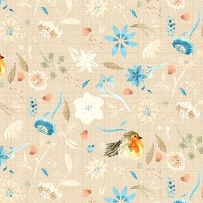 Baby bird robin floral watercolor ||  orange taupe tan