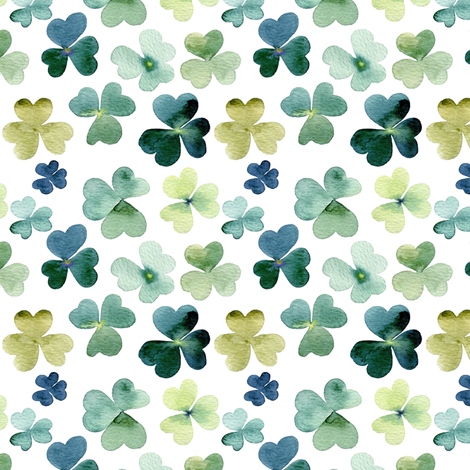 Shamrock Watercolor Garden // Micro fabric by hipkiddesigns on Spoonflower - custom fabric