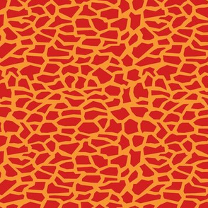 Broken Tile Shards, Crocodile Leather Texture, Red and Orange