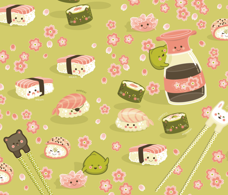 The Adventures of Wasabi and Friends fabric by hootenannit on Spoonflower - custom fabric