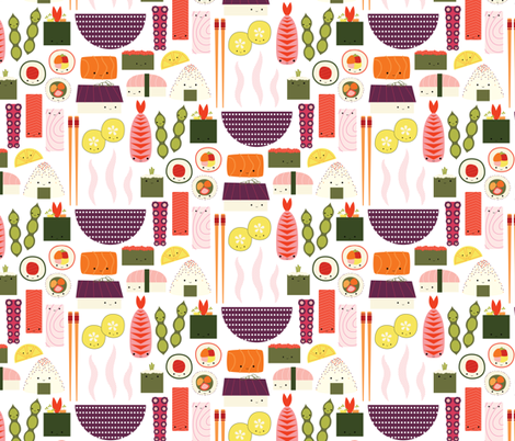 HappySushi *Smaller Scale fabric by katerhees on Spoonflower - custom fabric