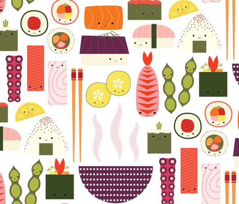 HappySushi fabric by katerhees on Spoonflower - custom fabric
