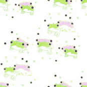 Green Frog Pink Frog in Party Hats on White with Frog Eyes - Easy Cozy Cute Baby Nursery Design