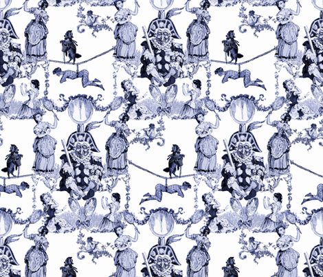 Mr. Kite's Circus Bizarre ~ Blue and White ~ Large fabric by peacoquettedesigns on Spoonflower - custom fabric