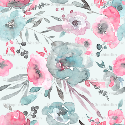 Watercolor blue and pink flowers leaves bouquets