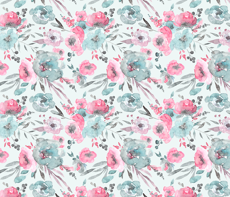 Watercolor blue and pink flowers leaves bouquets fabric by graphicsdish on Spoonflower - custom fabric