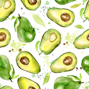 Watercolor Avocado on white background