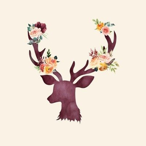 "8"" Autumn Wine Floral Deer // Cream"