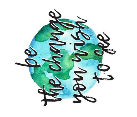 "be the change (1 yard - 42"") - watercolor world blanket fabric by littlearrowdesign on Spoonflower - custom fabric"