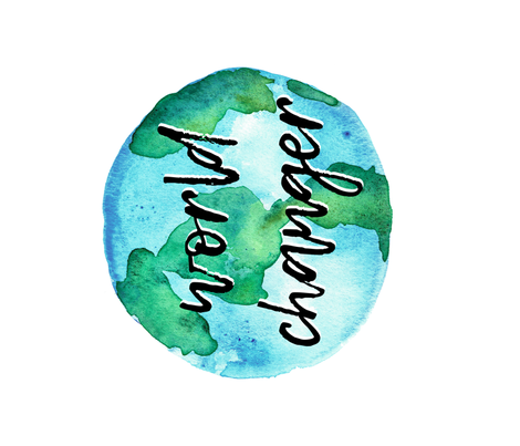 "world changer (1 yard - 42"") watercolor typography blanket fabric by littlearrowdesign on Spoonflower - custom fabric"