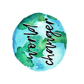"world changer (1 yard - 42"") watercolor typography blanket"