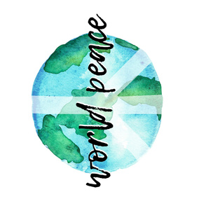 """World Peace - (1 yard - 42"""") watercolor earth typography blanket"""