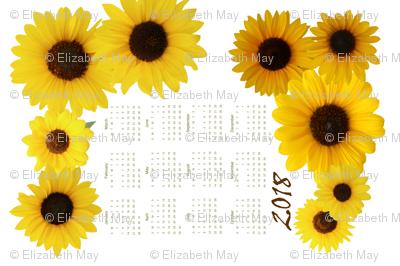 Kansas Sunflowers Tea Towel Calendar 2018
