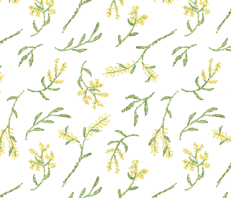 Pointillism Wattle fabric by janetdrummond on Spoonflower - custom fabric