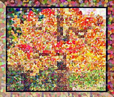 Quilted Autumn Maple Tree POINTILLISM