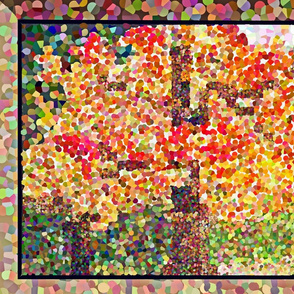 Quilted Autumn Maple Tree POINTILLISM