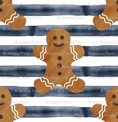 gingerbread man on navy stripes