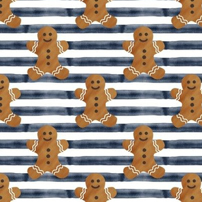gingerbread man on navy stripes