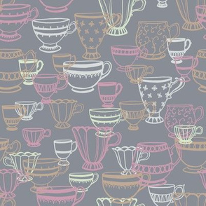 Teacup Scatter in Ochre, Mint and Pink