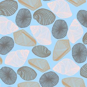 Hawaiian Tide Pool-Sea Shells Light Blue