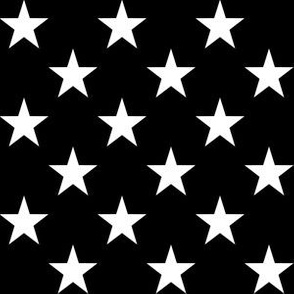 One Inch White Stars on Black