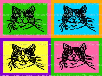 Pop Art Perdida!  Lino Cut Block Print Kitty Cat  Design