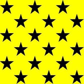 One Inch Black Stars on Yellow