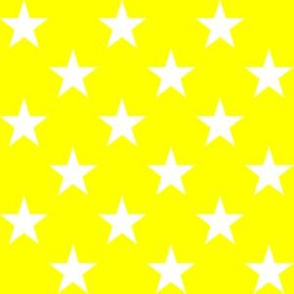 One Inch White Stars on Yellow