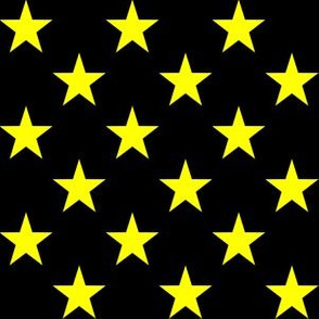 One Inch Yellow Stars on Black