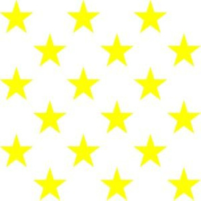 One Inch Yellow Stars on White