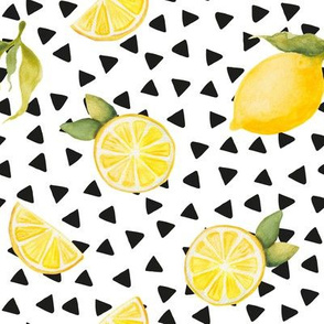 watercolor lemons with black triangles