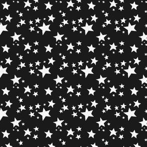 Scattered Doodle Stars on Black