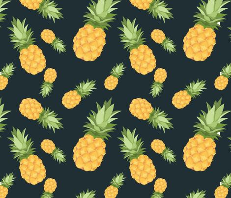 Pineapple pattern  - Dark background fabric by elfi_yang on Spoonflower - custom fabric