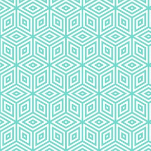 Geometric Pattern: Nested Cubes: Aqua