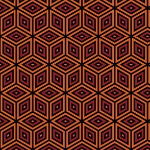 Geometric Pattern: Nested Cubes: Orange/Red
