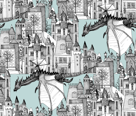Dragon Kingdom Winter Toile Blue large fabric by scrummy on Spoonflower - custom fabric